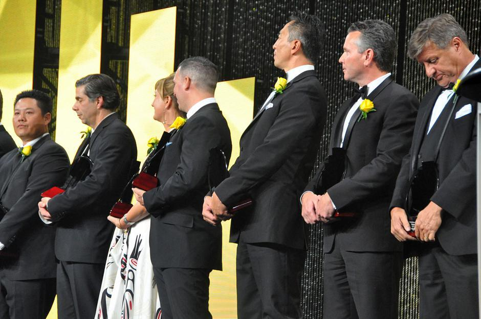 The award winners on stage.