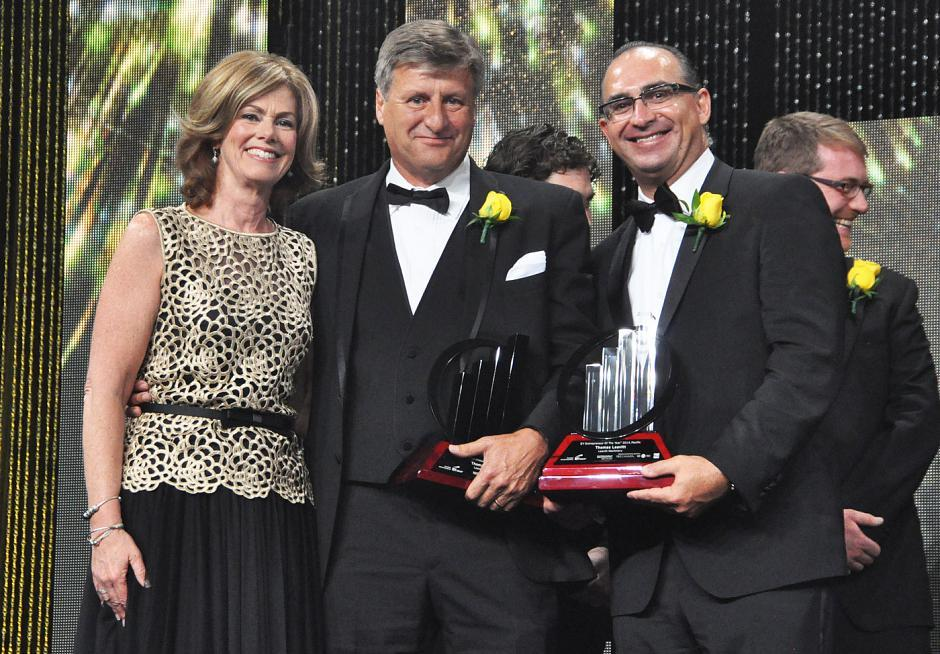 Colleen McMorrow, EY Entrepreneur of the Year national program director; Thomas Leavitt, Leavitt Machinery president & CEO and the 2014 Pacific Entrepreneur of the Year award winner; and Lui Petrollini, EY Entrepreneur of the Year Pacific director.