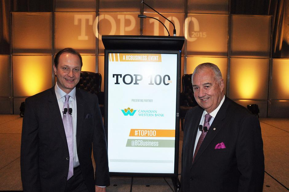 BCBusiness Top 100 honouree Richard Jaffray, Cactus Restaurants Ltd. president; and Peter Legge, Canada Wide Media Ltd. chairman and CEO