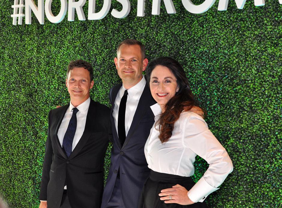 Tom Wells; his partner, Chris Wanlass, Nordstrom Pacific Centre store manager; and Karen McKibbin, Nordstrom Canada president