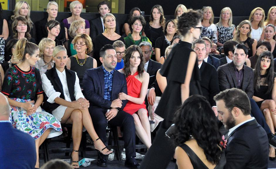 Camilla Belle, Karolina Kurkova, artist James Conran and his wife, Coco Rocha, Teddy Charles, Zachary Quinto and Sofia Boutella watch the fashion show