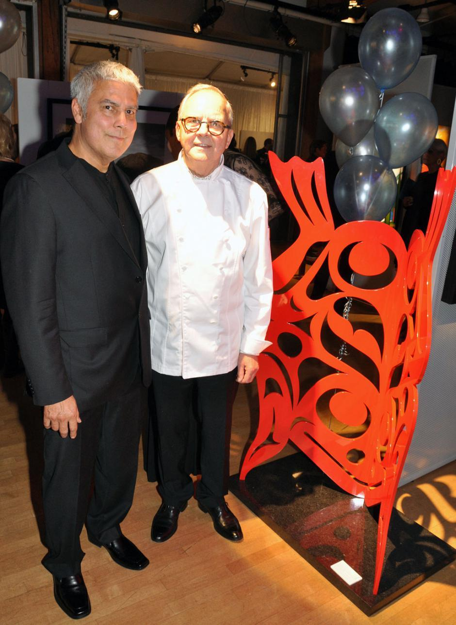 Don Yeomans, renowned Haida artist with his artwork up for auction; and guest chef John Bishop, Bishop's restaurant owner