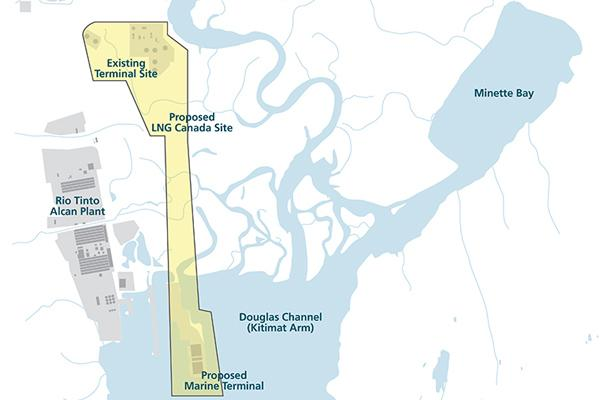 Site map of proposed LNG Canada export facility in Kitimat