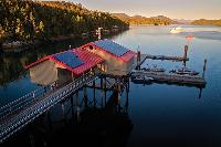 The dock and wet lab at the flagship research station at Calvert Island