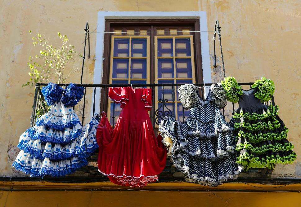 Colorful Flamenco dresses in Spain