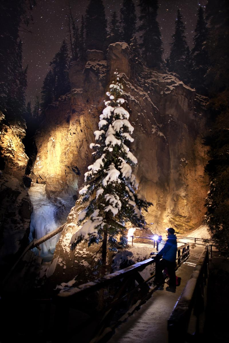 Ice walk in Johnston Canyon at night