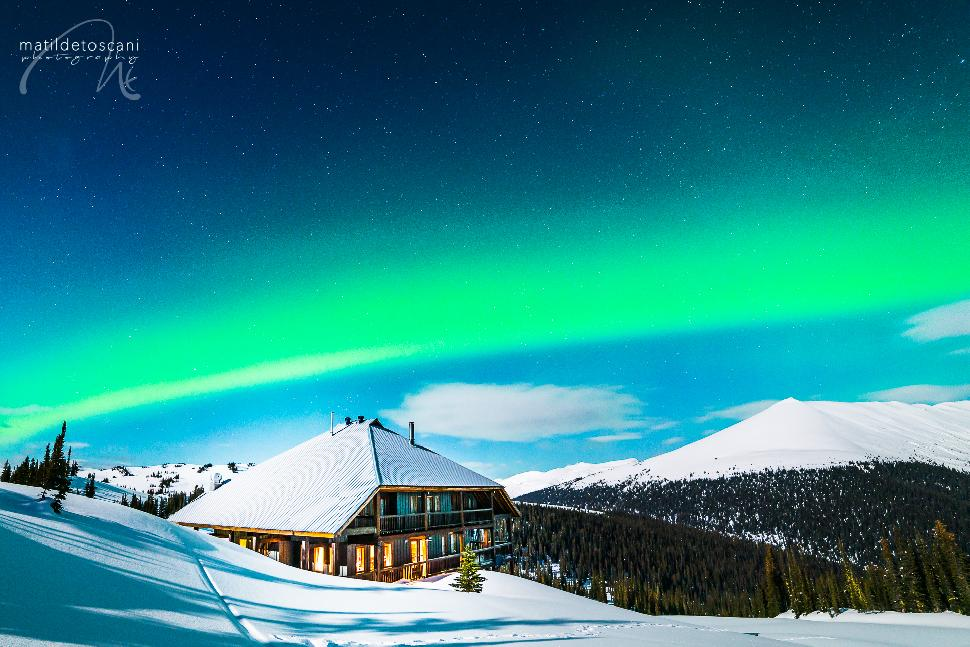 snow backcountry hut powder untouched snowy northern lights