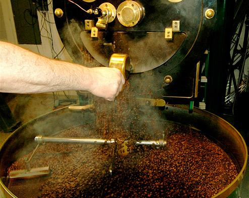 roasting ethical fair trade coffee