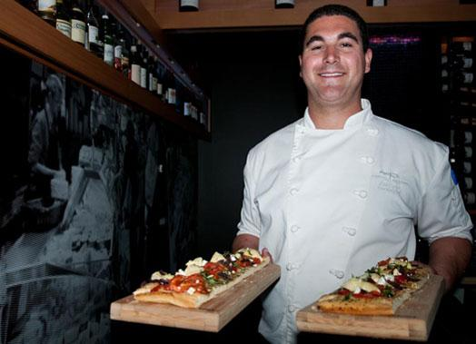 Guests nibbled on Chef Michael Carter's housemade flatbreads.
