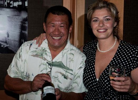 Les Jung of Grady Wines and GM Lauren Mote appreciate a glass of Sandhill wine from the Okanagan.
